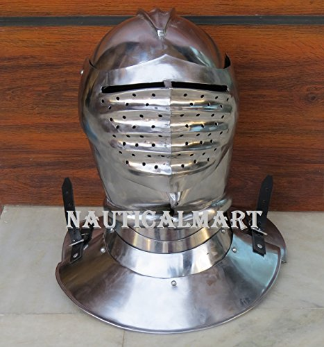 Maximilian Closed Helm Helmet - Steel - Wearable Costume Armor by NAUTICALMART