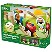 Brio My First Railway Beginner Pack Wooden Toy Train Set - Made with European Beech Wood and Works with all Wooden Railway Sets