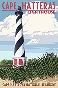 Cape Hatteras Lighthouse - Outer Banks, North Carolina (9x12 Art Print, Wall Decor Travel Poster)