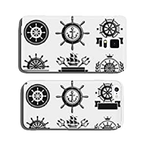 Ship steering wheel label and element set. Vector cell phone cover case iPhone6 Plus