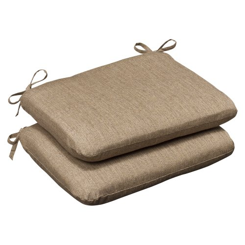 Pillow Perfect Indoor/Outdoor Rounded Corners Seat Cushion (Set of 2) with Sunbrella Linen Sesame Fabric, 18.5 in. L X 15.5 in. W X 3 in. D