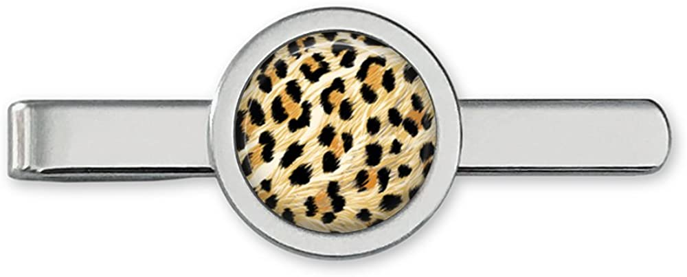 Oakmont Cufflinks Leopard Print Tie Clip - Animal Print Tie Bar (Silver-Plated)