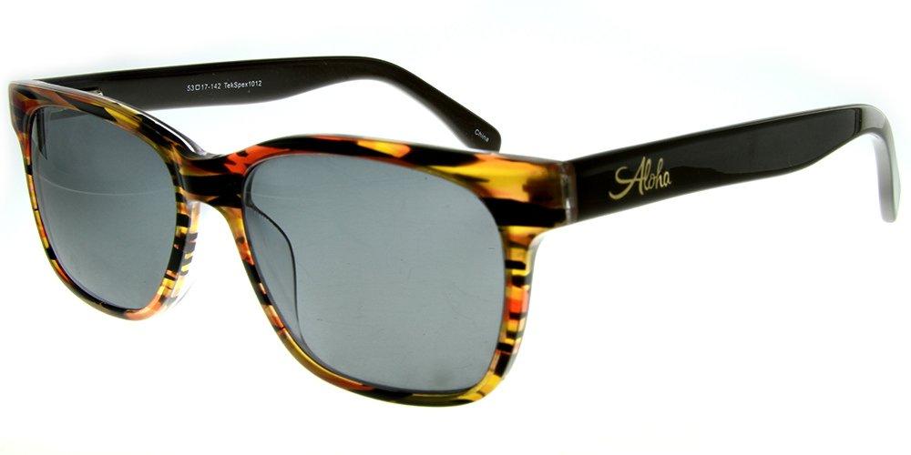 Aloha Eyewear Tek Spex 1012 Unisex RX-Able Reader Sunglasses with Progressive Polarized Lens (Brown +2.00)