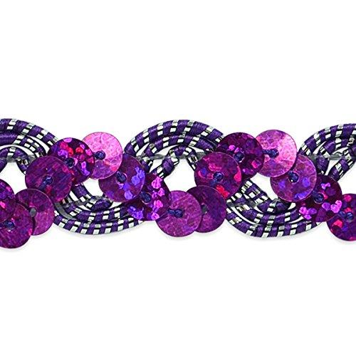 Expo International Reba Ric-Rac Sequin Braid Trim, 20 yd, Purple/Silver - Sequin Ric Rac