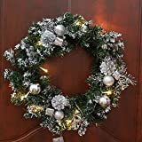 christmas wreath with battery operated led string lights front door hanging garland holiday