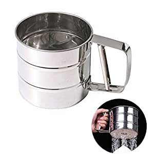 Chengor Baking Stainless Steel Shaker Sieve Cup Mesh Crank Flour Sifter with Measuring Scale Mark for Flour Icing Sugar