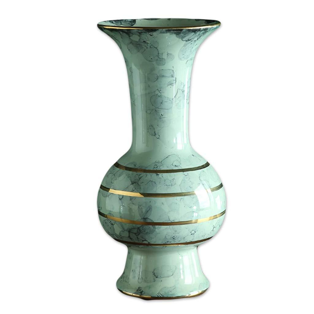 花瓶アメリカンスタイルゴールドキルンセラミックフラワー花瓶現代中国風高級ソフトテレビキャビネットテーブル装飾花 LQX (Size : M) B07SHD7FDQ  Medium
