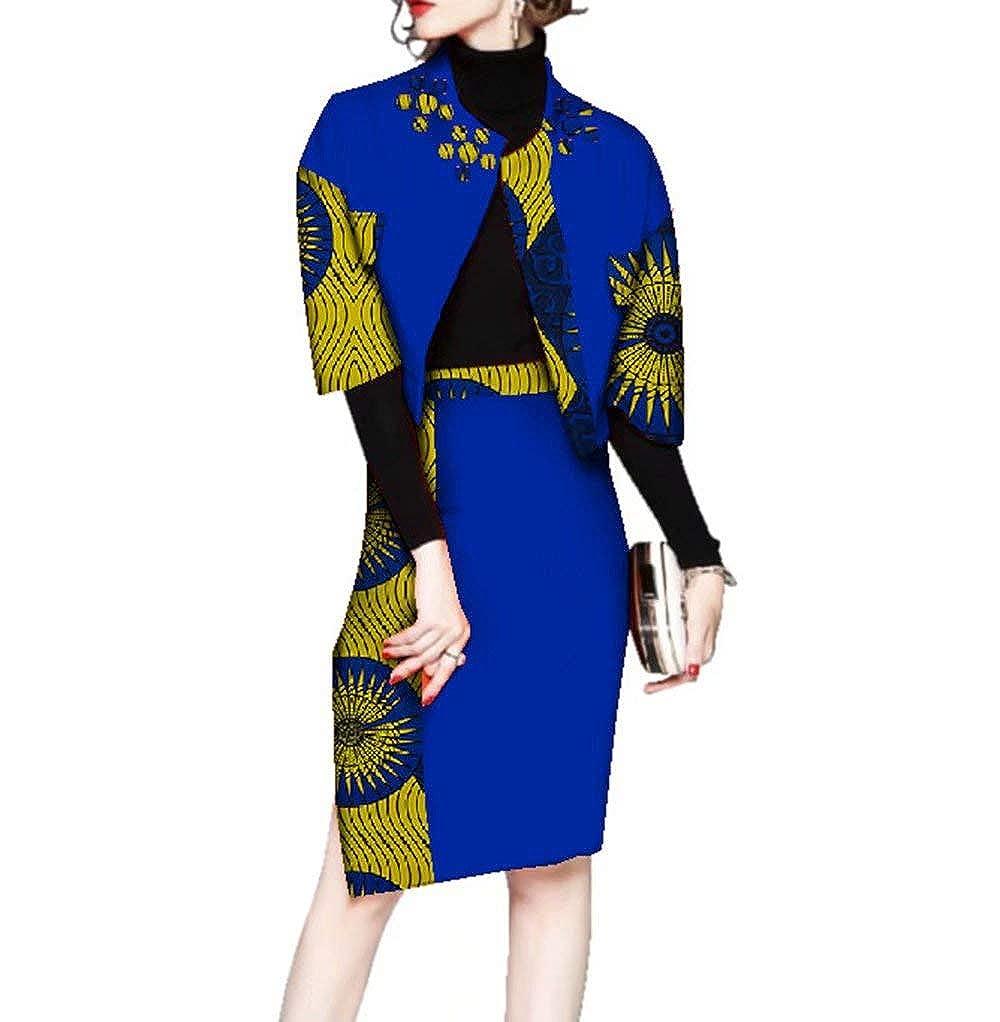 24fs1255 Womens Ankara Suit Sets Half Sleeve African Print Outerwear & Skirt Sets