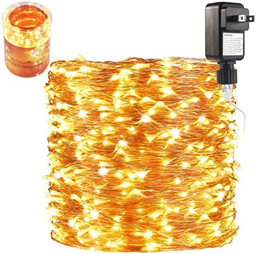 165 Ft Ultra Long 500 LEDs LED String Lights Plug in, Deck Porch Ceiling Copper Lights, Indoor Outdoor Waterproof Decorative Lights for Bedroom,Patio,Garden,Party,Christmas Tree Warm White