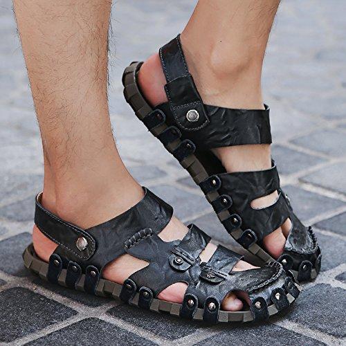 Xing Lin Flip Flop De La Playa Sandalias De Conducción Hombres Verano British Baotou Zapatos Casual Masculino Calzado De Playa 022 Black MingTai