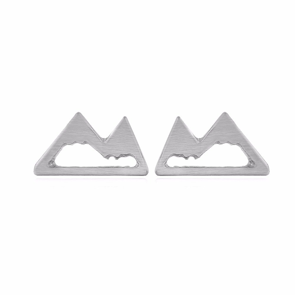 Mountain Stud Earrings for Women Mountain Top Earrings Nature Jewelry - Multiple Colors (Silver)