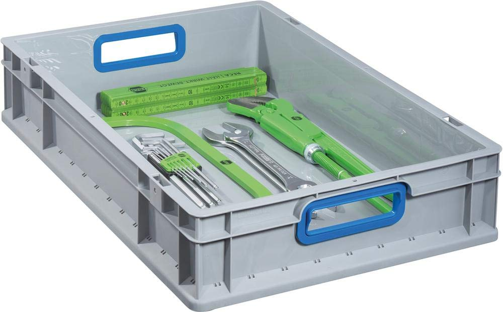 Gray//Blue Allit 456760 Euro containerProfiPlus Euro Box 612 with open handles