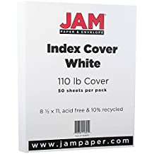 """JAM Paper® Index Cover Paper - Letter Size - 216 x 279.5 mm (8 1/2"""" x 11"""") - 110lb White - 50 sheets per pack"""