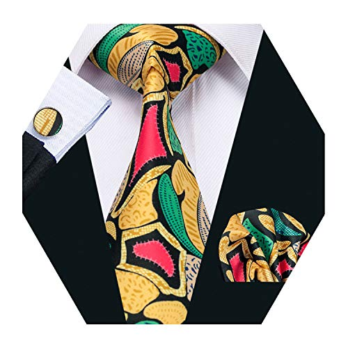 - Barry.Wang Men Silk Tie Set Designer Abstract Gold Green Necktie Pocket Square Cufflinks