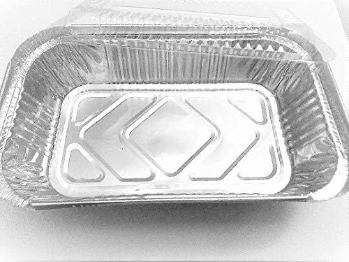450ml 1LB Disposable Aluminum Loaf Pans with Clear Plastic Lids (25)