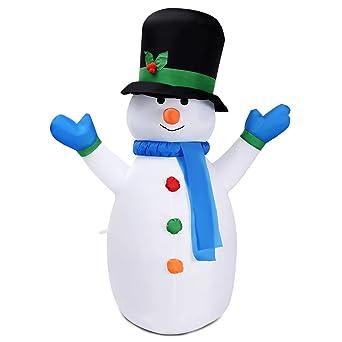 Costway - Decoración hinchable de muñeco de nieve, decoración ...