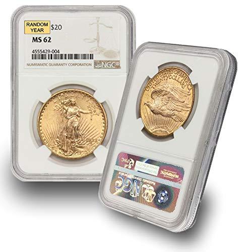 1908 (Random Year) Gold Saint Gaudens Coin $20 MS62 NGC