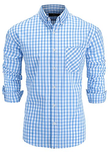 Emiqude Men's 100% Cotton Regular Fit Long Sleeve Button Down Plaid Dress Shirt Medium Light Blue
