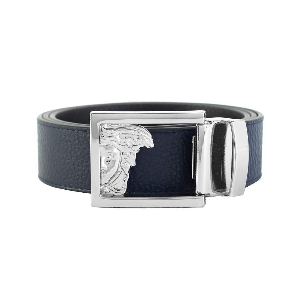 Versace Collection Men's Medusa Steel Buckle Leather Belt Navy Blue
