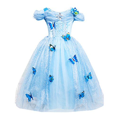 DreamHigh Cinderella Butterfly Party Girls Costume Dress Size 5-6 Years Sky Blue - http://coolthings.us
