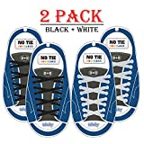 Elastic No Tie Shoelaces, Best Shoe laces for Adult and Kids (Black & White)