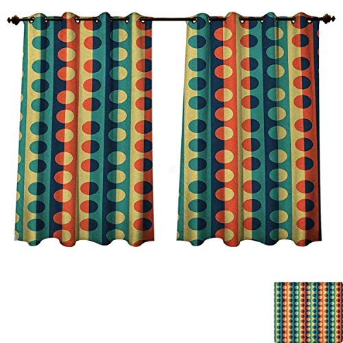 - Geometric Circle Blackout Thermal Backed Curtains for Living Room Pop Art Style Vertical Striped Half Pattern Ring Forms Retro Poster Print Customized Curtains Orange Teal Size W63 xL63
