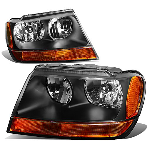 For 99-04 Jeep Grand Cherokee WJ Pair of Black Housing Amber Reflector ()