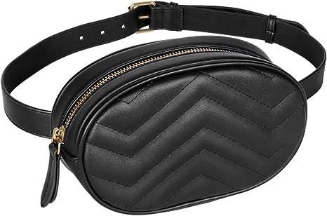 Geestock Women Waist Bags Waterproof PU Leather Belt Bag Fanny Pack Crossbody Bumbag for Party, Travel, Hiking(Black)