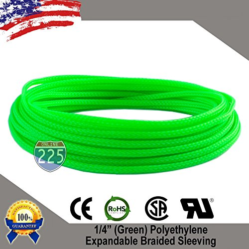 10 FT 1/4″ 6mm Green Expandable Wire Cable Braided Sleeving Sheathing Loom Tubing US