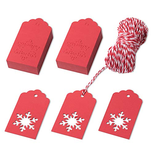 - Favourde 100 Pieces Kraft Paper Gift Tags Hollow Christmas Snowflake Design with 20 Meters Twines for Christmas, Winter Theme Party (Red)