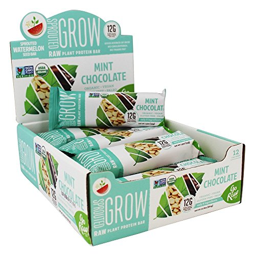Go Raw - Organic Sprouted Plant Protein Bars Box Mint Chocolate - 12 Bars