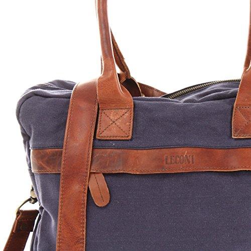 LECONI kleiner Weekender Rindsleder Canvas Handgepäck XL Shopper Damen Herren Arbeitstasche 40x30x15cm LE2007-C navy / braun BFk7pTP0k