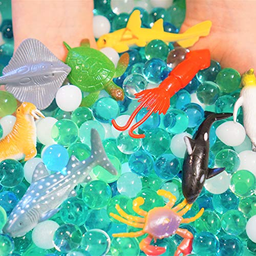 SENSORY4U Dew Drops Water Beads Ocean Explorers Tactile Sensory Kit - 24 Sea Animal Creatures Included - Great Fine Motor Skills Toy for Kids (Nets Water Bottle)