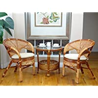 Pelangi Rattan Wicker 3 Pieces Set of 2 Chairs W/cushions and Round Coffee Table W/glass Colonial (Light Brown) Color