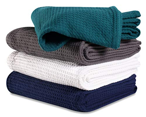 (100%Soft Premium Cotton Thermal Blanket in Waffle weave 102x90 King Teal Color,All Season Blanket,Breathable Cotton Thermal Blanket,Light Thermal Blanket,Perfect for Layering Any Bed-Provides Comfort)