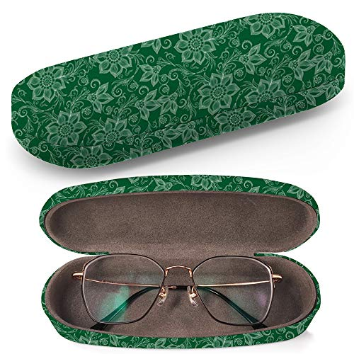 (Hard Shell Glasses Protective Case with Cleaning Cloth for Eyeglasses and Sunglasses - Henna Mehndi Tattoo Doodles)