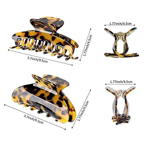 Hair Claw Clips for Thick Hair Tortoise Shell No Slip,3.8Inch Big Claw Hair Clips for Women Hair Accessories Claw Clips for Thin Hair Leopard Large