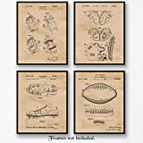 Original Football Patent Art Poster Prints - Set of 4 (Four) Photos - 8x10 Unframed - Great Vintage Wall Art Decor Gifts for Football Players, NFL, NCAA Pigskin fans, Man Cave, Boy's Room, Gym, Office