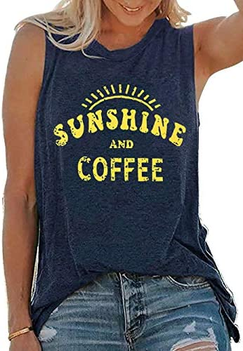 Umsuhu Sunshine and Coffee Tank Casual Summer Graphic Tank Tops for Women Sleeveless Graphic Tank Tops Tee Shirts