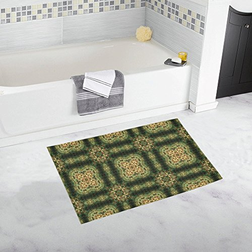 - AnnHomeArt Indian Inspired Earthtone Tilework Non-Slip Bath Rug Bath Mat Rug Doormat 20''x 32''