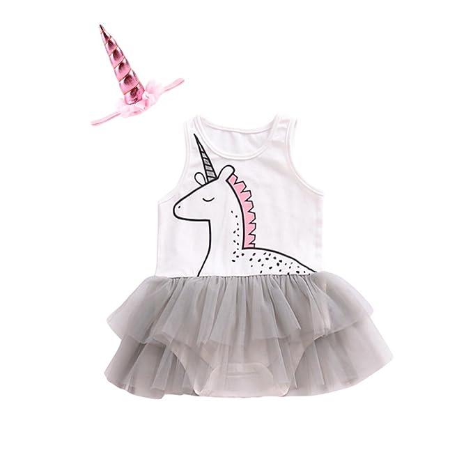 16b1c18bbe0 YOHA Baby Girls Unicorn Romper Headband Set Newborn Birthday Tulle TuTu  Outfit (70 3
