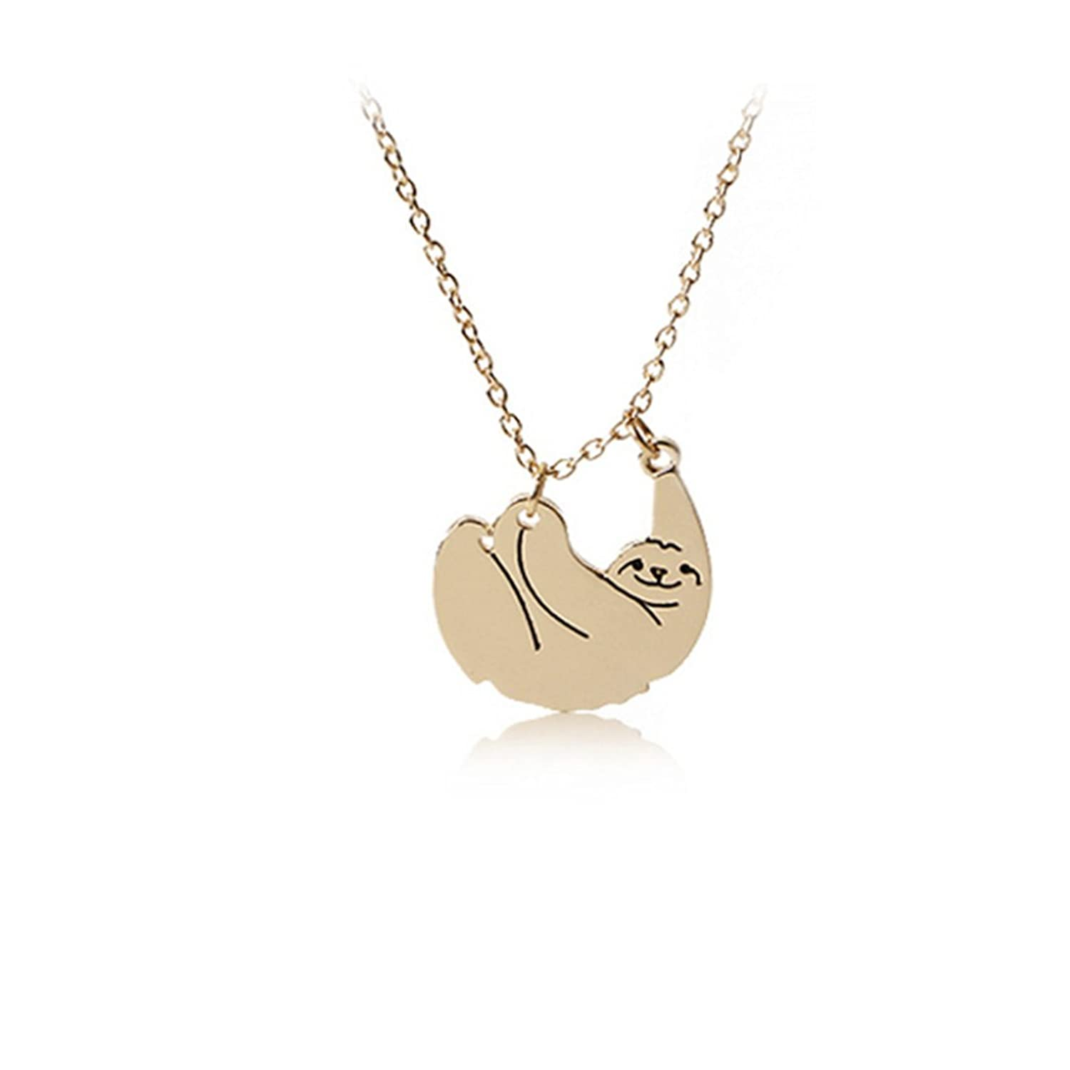 com necklace sloth pendant silver sterling hanging