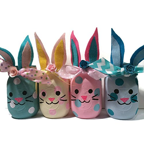 Amazon easter bunny mason jar easter centerpiece vase candy easter bunny mason jar easter centerpiece vase candy jar gift candle negle Choice Image