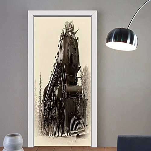 2 Steam Locomotive Number (Carolyn J. Morin custom made 3d Door Wall Mural Wallpaper a or northern type steam train engine built by the montreal locomotive works for For Room Decor 30x79)