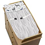 Sweet Jojo Designs Baby Changing Pad Cover for Blue Grey and White Woodland Animals Collection