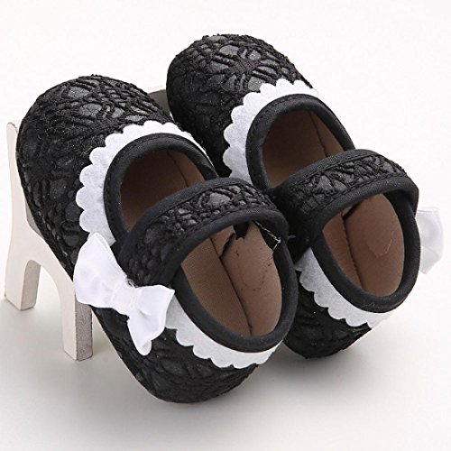 Hunpta Babyschuhe Mädchen Jungen Lauflernschuhe Baby Kleinkind Kinder Mädchen weichen Sohle Krippe Kleinkind Neugeborenes Schuhe (11, Weiß) Schwarz