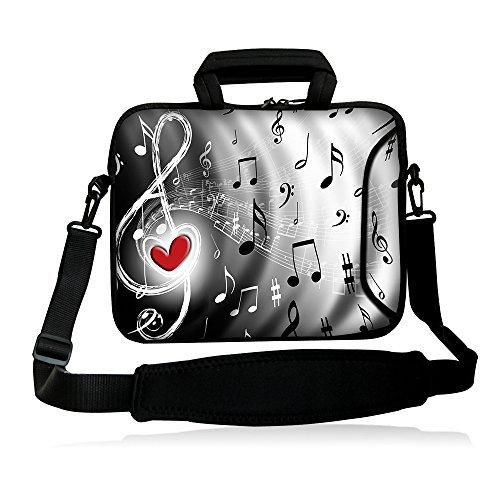 iColor 15 Laptop Shoulder Bag 14.1 14.2 15.6 Inch Neoprene Laptop Messenger Bag 15.4 Notebook Computer Dual Zipper Case Cover Pouch Holder Pocket -Music & Red Heart
