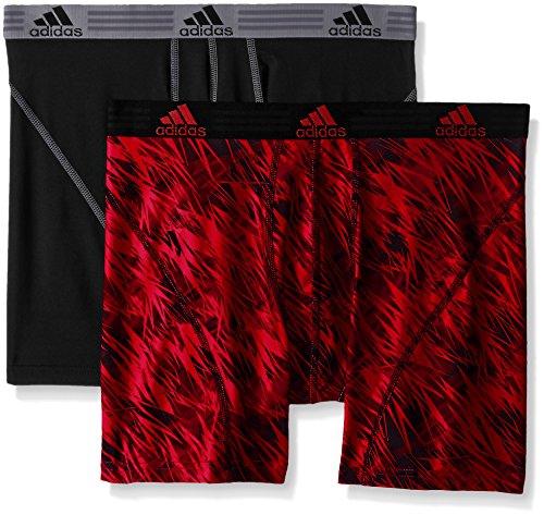 adidas Men's Sport Performance Climalite Boxer Brief Underwear (2 Pack), Real Red Draven/Black/Grey, Medium/Waist Size 32-34