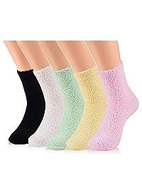 Women Girls Fuzzy Slipper Socks - Soft Thick Warm Home Christmas Socks in Winter