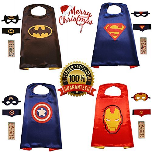 KidsLuvFun Superhero Capes and Masks For Kids, 4 Pack - Cartoon Dress Up incl. Felt Cuffs and 4 Sticker Packs